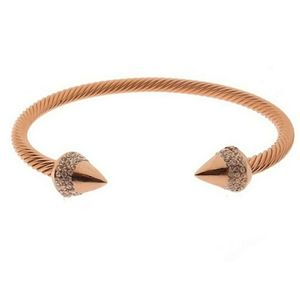 18K Rose Gold Pave Spike Bracelet.